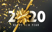 2020 Happy New Year vector background with golden gift bow, confetti, white numbers. Christmas celebrate design. Festive premium concept template for holiday.