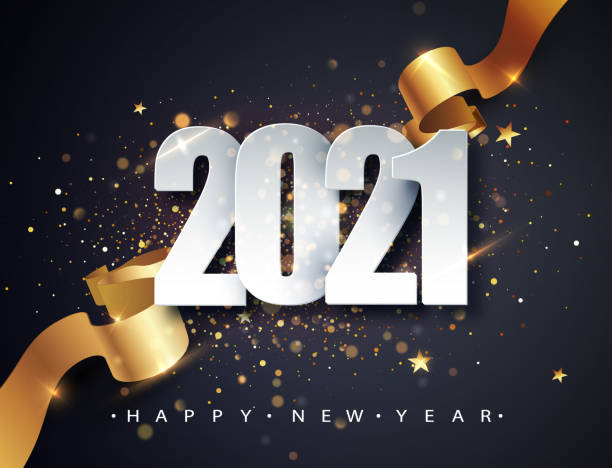 2021 Happy New Year vector background with golden gift ribbon, confetti, white numbers. Christmas celebrate design. Festive premium concept template for holiday 2021 Happy New Year vector background with golden gift ribbon, confetti, white numbers. Christmas celebrate design. Festive premium concept template for holiday. happy new year 2021 stock illustrations
