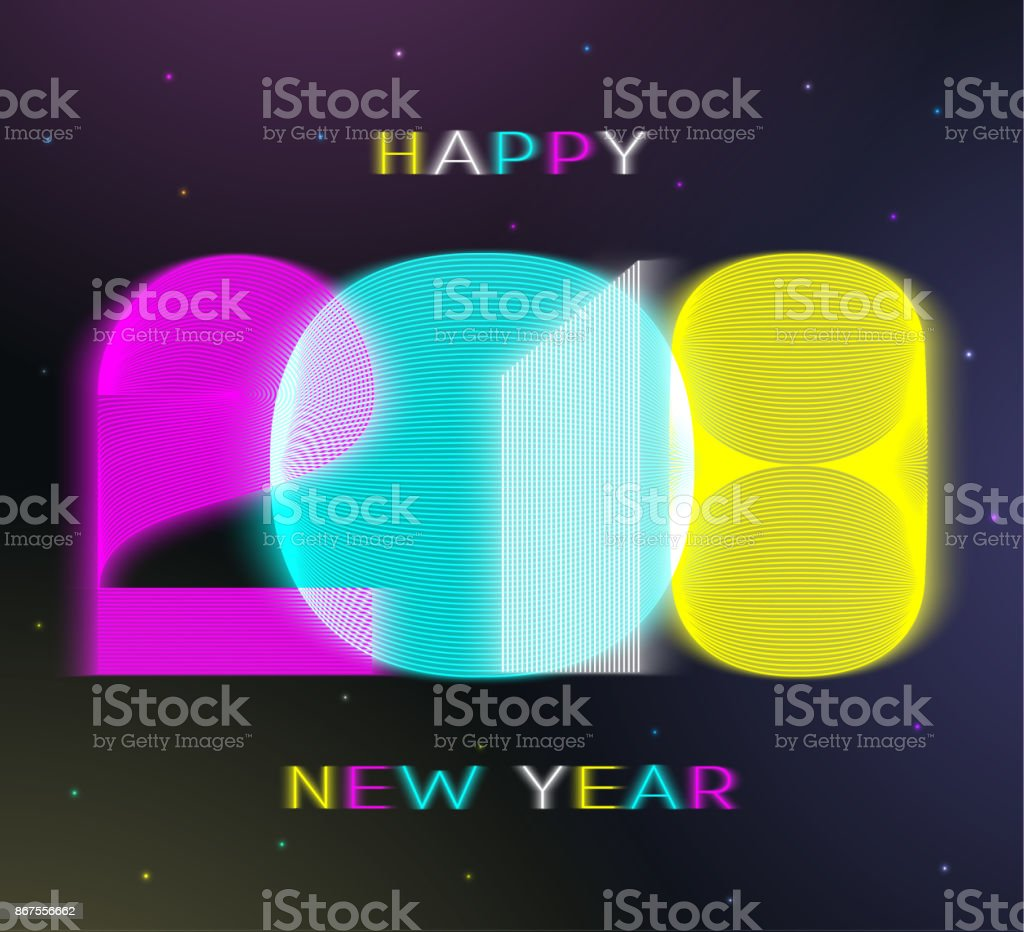 2018 happy new year vector card in minimalist style royalty free 2018 happy new
