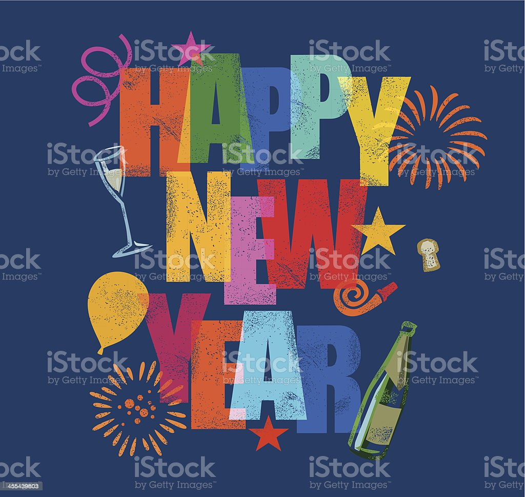 Happy new year vector design poster royalty-free stock vector art