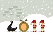 Christmas card with different characters making the number 2011: duck, reindeer and elves. Layered file for easy edition.