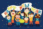 Image of a group of happy children having a new year celebration with a banner flying and some confetti. Fonts is made manually vector made, not taken from any existing ones.