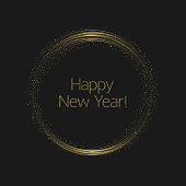 Happy New Year. Abstract golden glowing magic sparkles stars