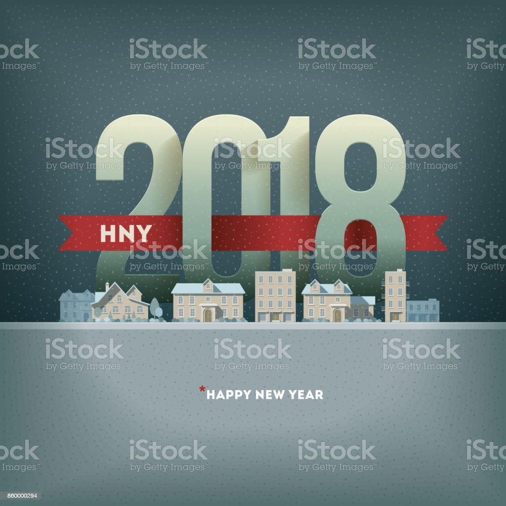 2018 Happy New Year vector art illustration