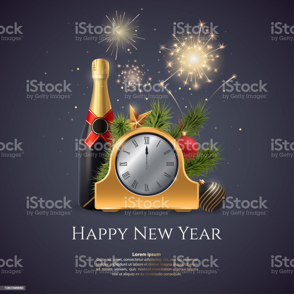 happy new year vector illustration composition with a golden clock champagne bottle fir
