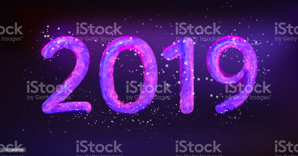 2019 Happy New Year vector illustration. Glowing in neon light caption 2019 with snow particles векторная иллюстрация