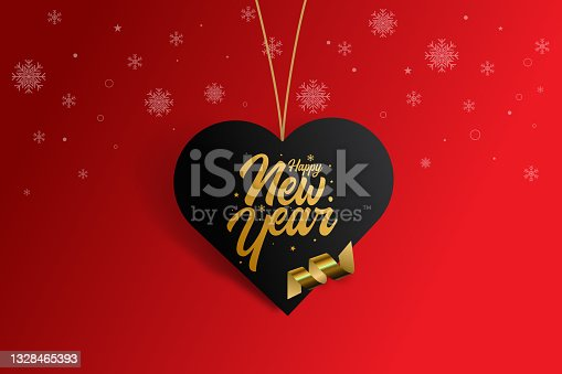 istock Happy new year vector illustration. Hearth Shape Sale tag stock illustration with red background. 1328465393