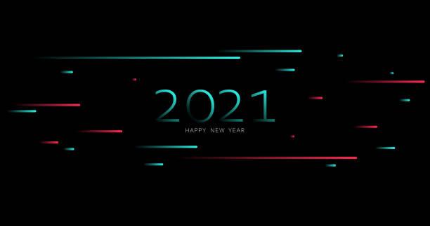 2021. happy new year vector illustration. holiday tiktok background. light. futuristic blue red gradient vector black background contrast color border digital dynamic elegant. tiktok, tik tok - tiktok stock illustrations