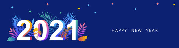 2021. Happy New year. Vector illustration. New year symbol vector illustration. Tropical leaves 2021. Happy new year 2021 creative greeting card design. Floral design for calendar. Tropical banner 2021. Happy New year. Vector illustration. New year symbol vector illustration. Tropical leaves 2021. Happy new year 2021 creative greeting card design. Floral design for calendar. Tropical banner new years day stock illustrations