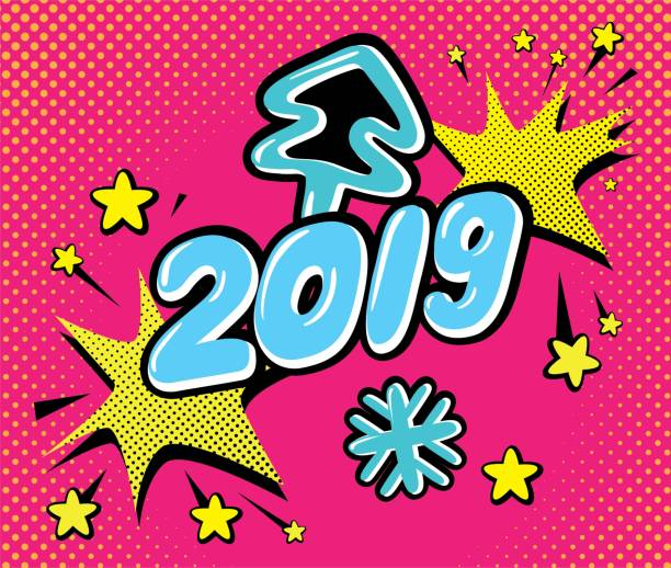 happy new year vector illustration set in pop art style vector art illustration