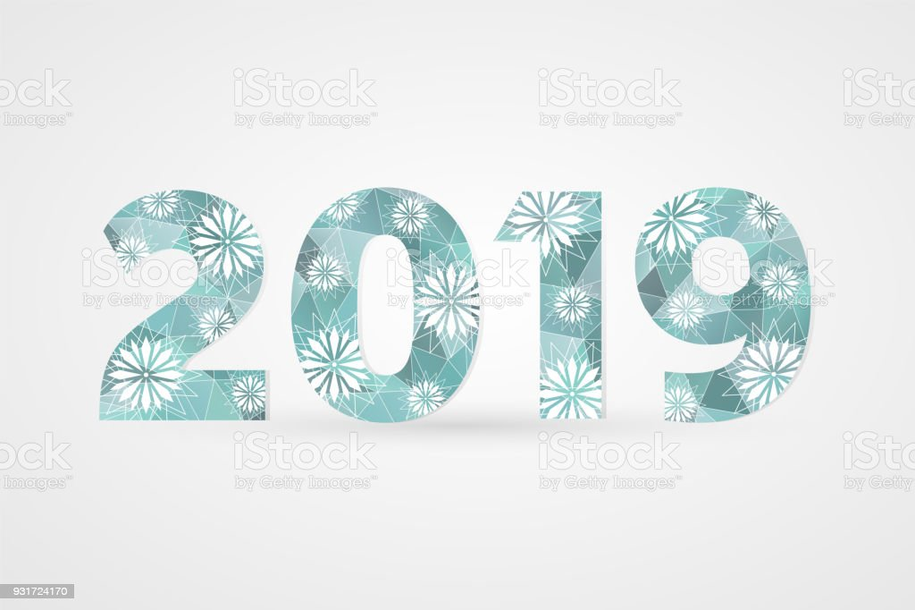 2019 Happy New Year Vector Illustration Winter Holiday Snow Symbol