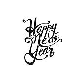 Happy new year vector text Calligraphic Lettering design