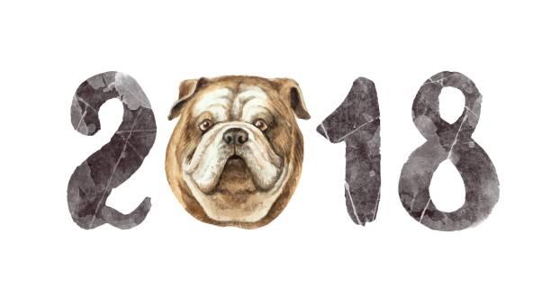 ilustrações, clipart, desenhos animados e ícones de 2018 feliz ano novo vetor aquarela cartão isolado no fundo branco. - calendário de vida selvagem