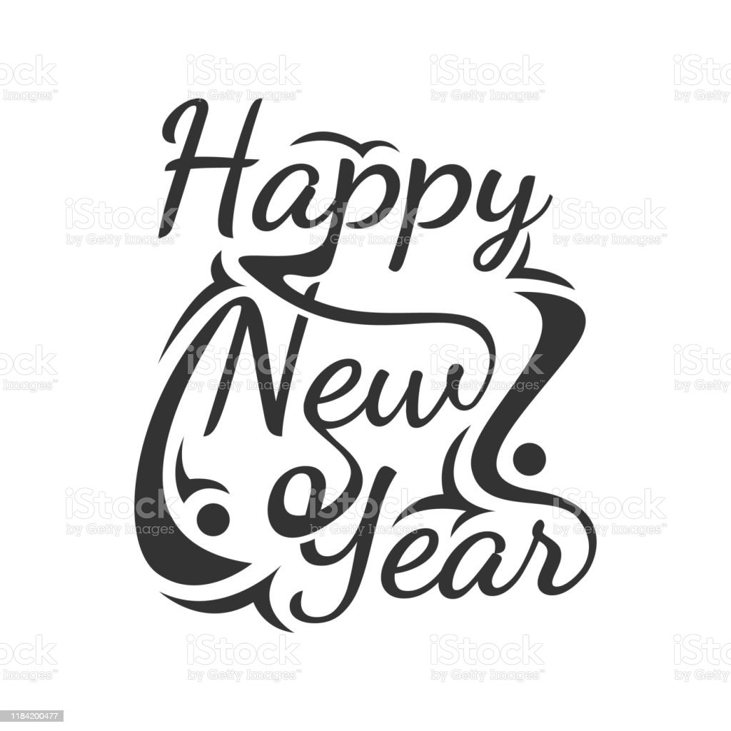 Happy New Year Vector Word Art Text Calligraphic Lettering