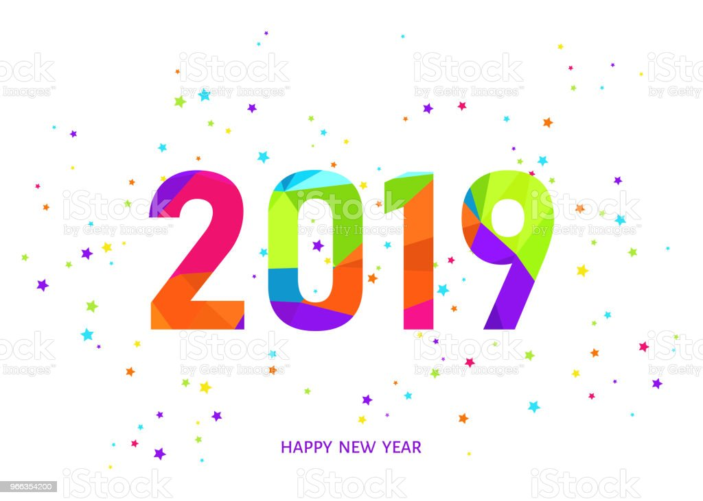 2019 happy new year white background with colorful confetti royalty free 2019 happy new