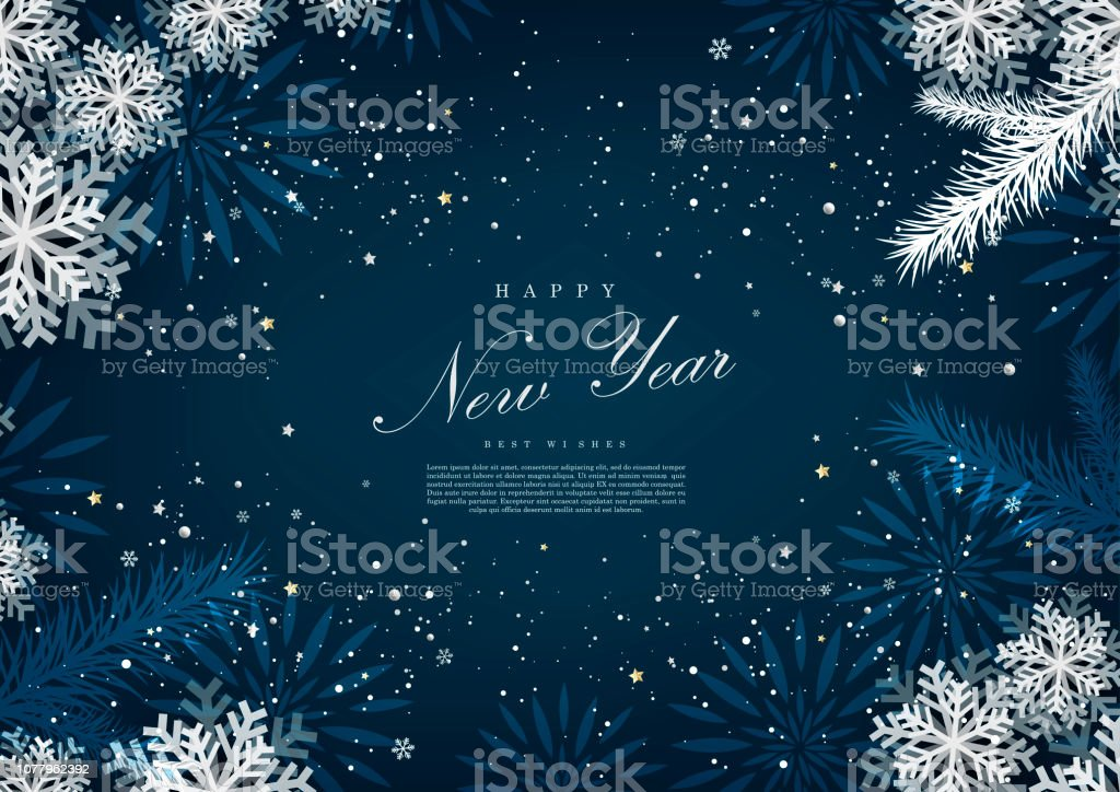Happy new year winter blue snow background template vector - Векторная графика Абстрактный роялти-фри