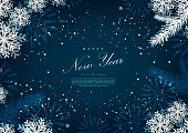 Happy new year winter blue snow background template vector design