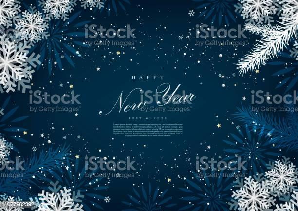Happy New Year Winter Blue Snow Background Template Vector - Immagini vettoriali stock e altre immagini di Allegro