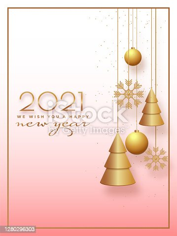 2021 Happy New Year Wishing Card or Template Design with Hanging Baubles, Xmas Trees and Snowflakes on Glossy Background.