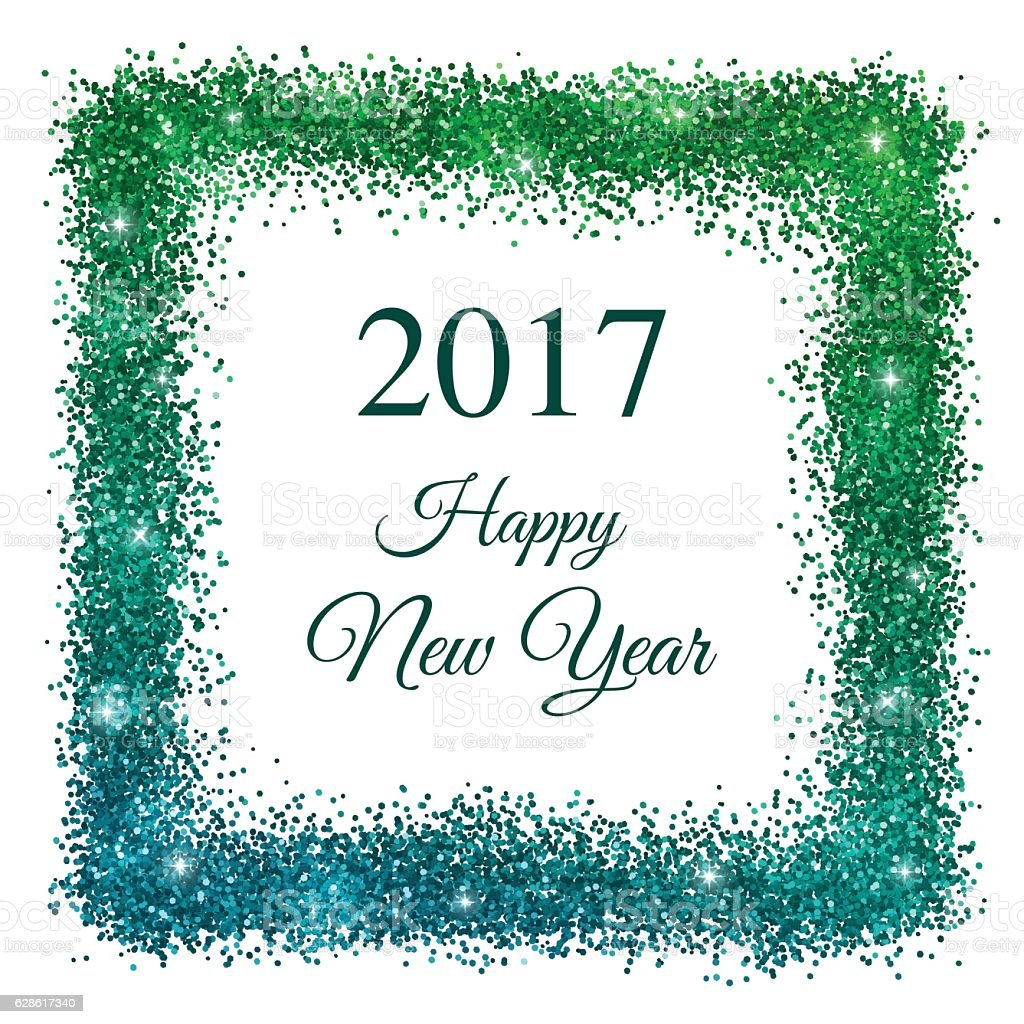 2017 Happy New Year With Blue Green Glitter Frame Vector Stock