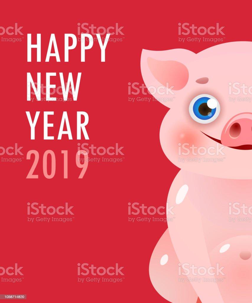 Frohes Neues Jahr Mit Cartoonpiggy Rote Bannerdesign Stock Vektor ...
