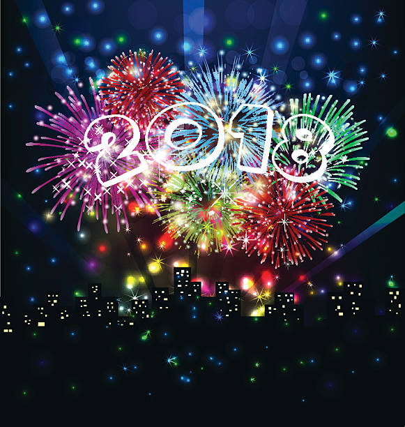 happy new year with firework vector art illustration