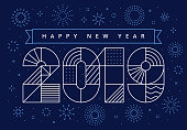 Minimalistic, geometric New Year's card 2019 with fireworks. Vector, eps 10.