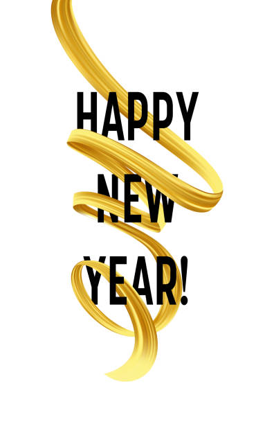 happy new year with golden serpentine streamers vector illustration vector art illustration