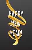 Happy New Year with golden serpentine streamers. Vector illustration EPS10