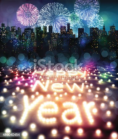 istock Happy New Year with Lights and Fireworks 489040454