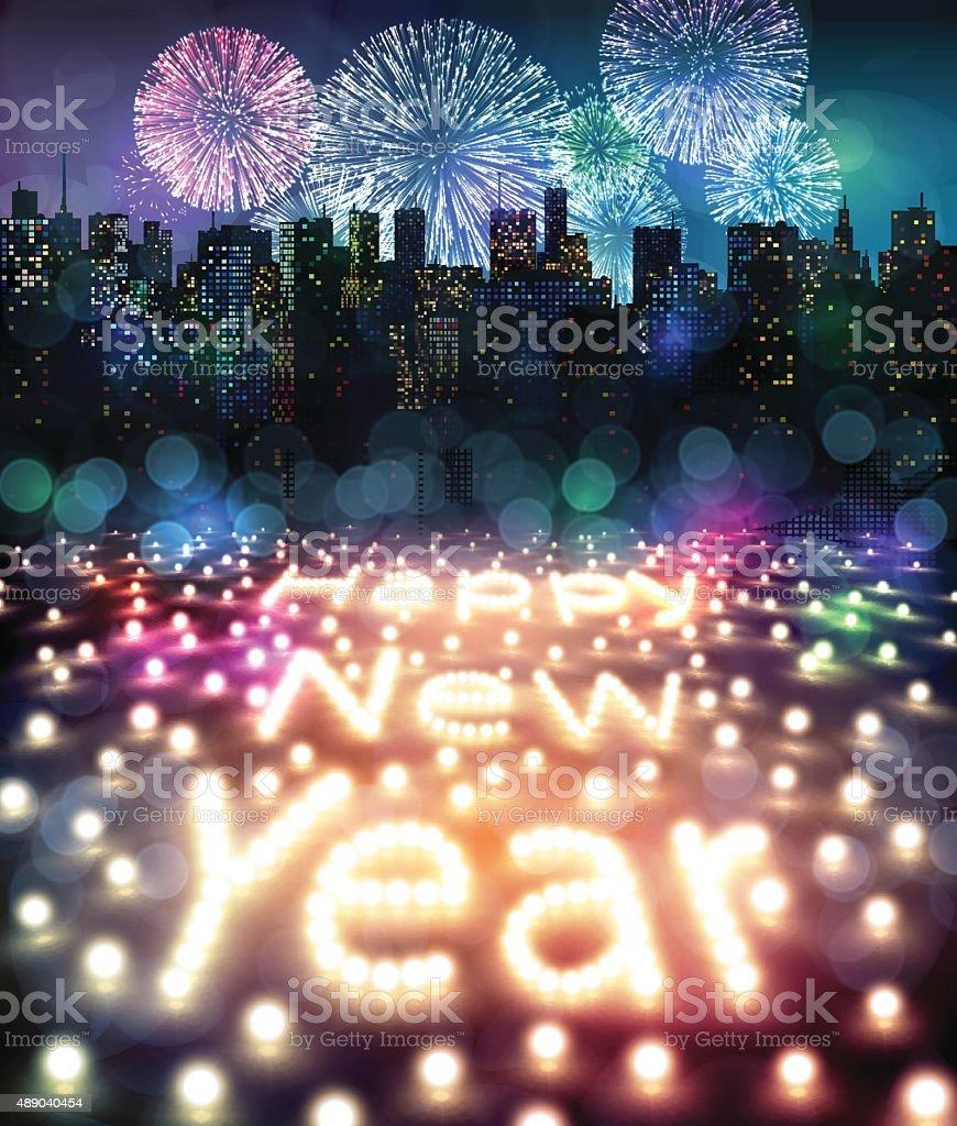 Frohes neues Jahr mit Feuerwerk Licht und – Vektorgrafik
