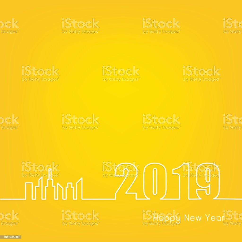 2019 happy new year with modern city outline on yellow background creative greeting card design