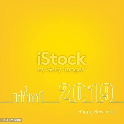 2019 happy new year with modern city outline on yellow background creative greeting card design vector illustration stock vector art more images of