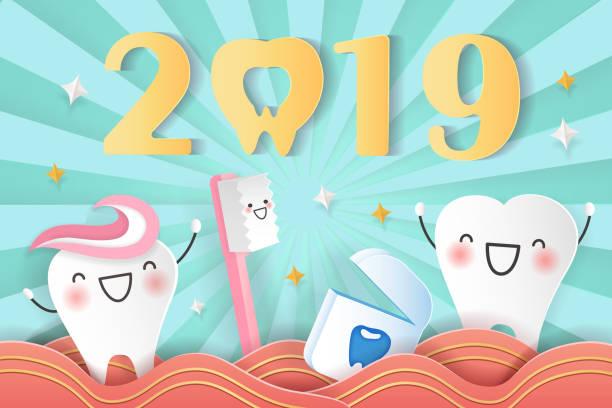 bildbanksillustrationer, clip art samt tecknat material och ikoner med gott nytt år med tänder - molar