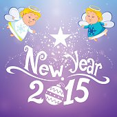 Happy new year with two angels