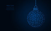 Happy New Year word template design, Christmas ball abstract geometric image,  wireframe mesh polygonal vector illustration made from points and lines on a dark blue background