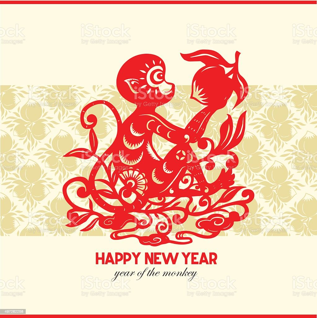 happy new year year of the monkey 2016 royalty free stock vector art - Chinese New Year Year Of The Monkey