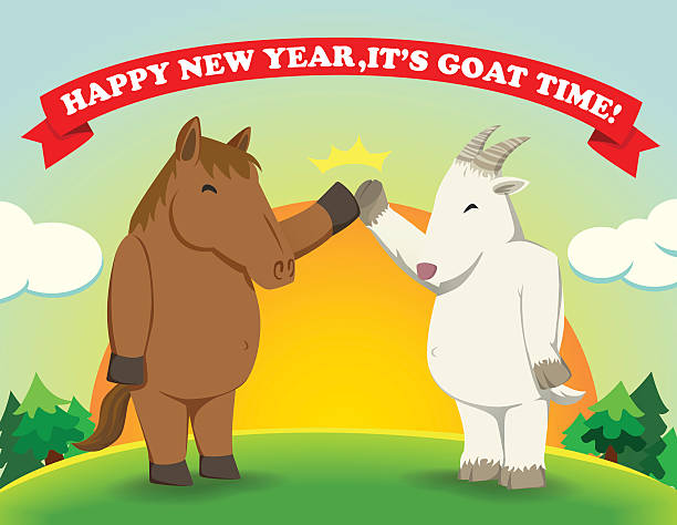 happy new yearits goat time sunshine vector art illustration