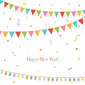 new,year,party,flags,confetti,holiday,event,birthday,celebration,garland,design,festival