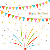 new,year,party,flags,party popper,confetti,holiday,event,birthday,celebration,garland,design,festival