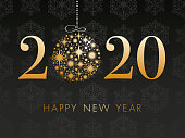 Happy New Year's 2020 Black Background. Winter holiday greeting card design template.