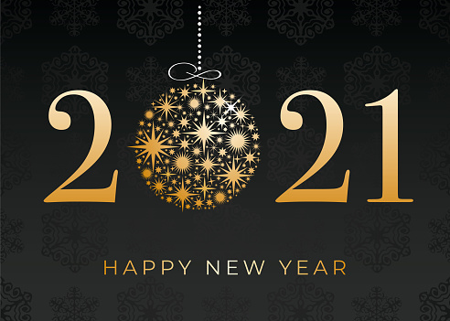 Happy New Year's 2021 Black Background. Winter holiday greeting card design template.