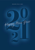2021 - Happy New Year's Day card. Stock illustration