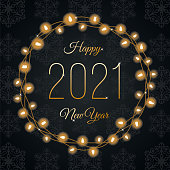 2021 - Happy New Year's Day card with Lights Wreath. Black background. Stock illustration
