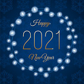 2021 - Happy New Year's Day card with Lights Wreath. Blue background. Stock illustration