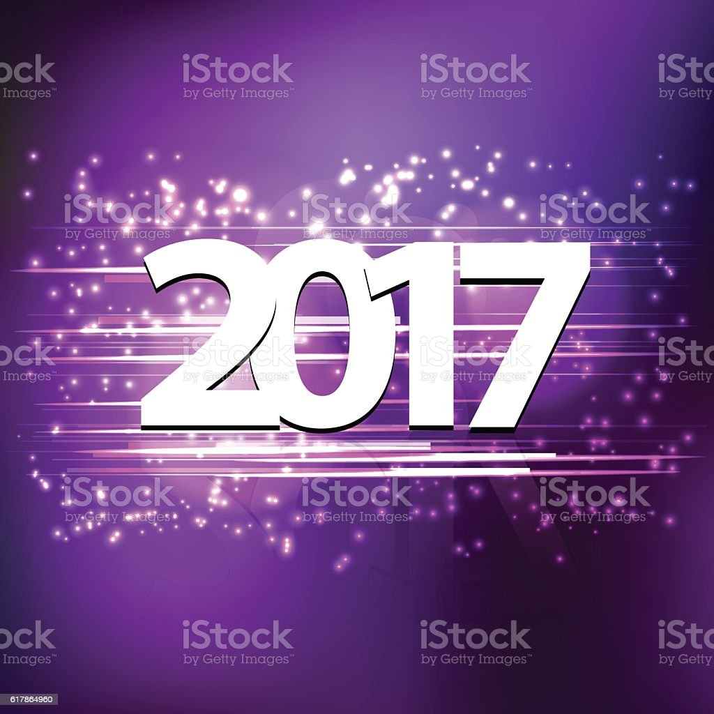 Happy New Years Eve 2017 On Purple Background Royalty Free
