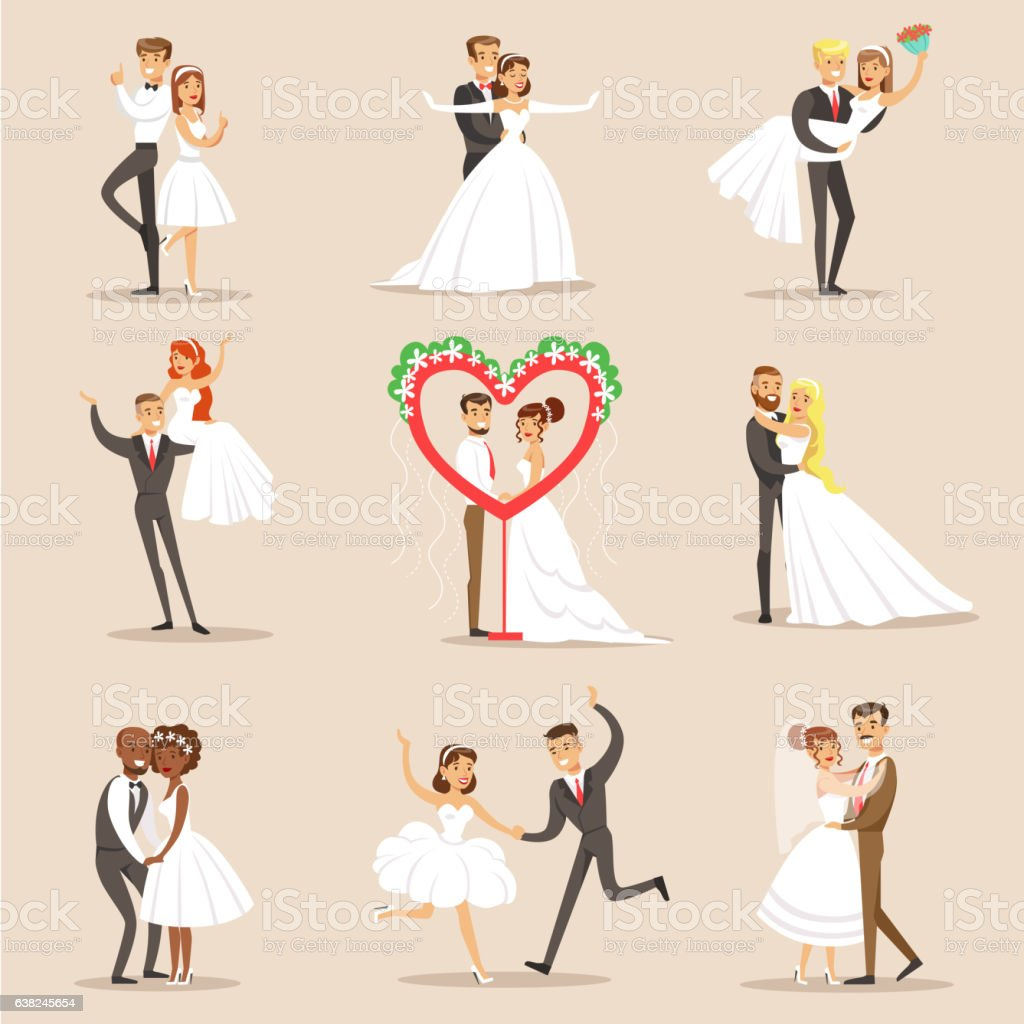 Happy Newlyweds On The Wedding Party Set Of Scenes vector art illustration