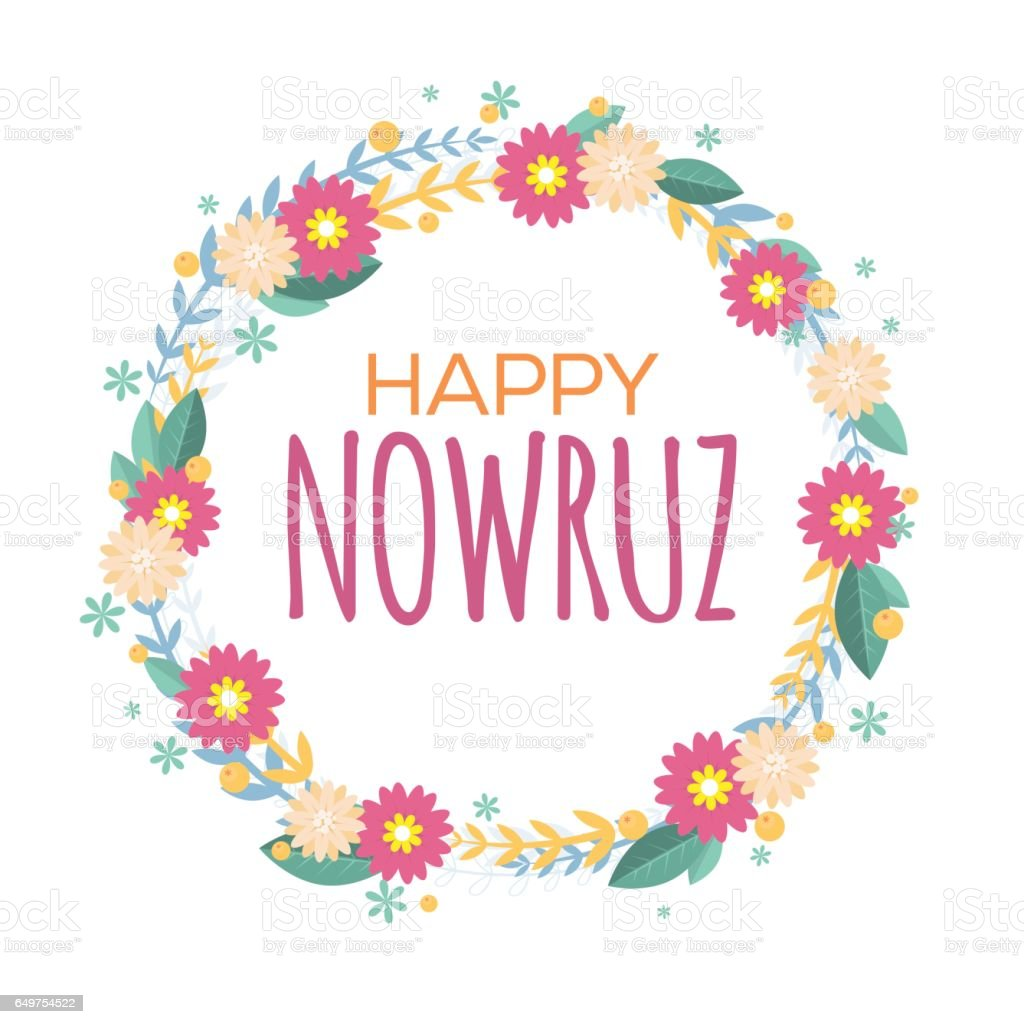 Happy nowruz greeting card with flowers and leaves iranian persian happy nowruz greeting card with flowers and leaves iranian persian new year march m4hsunfo