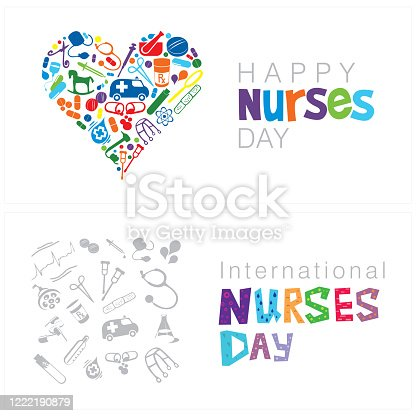 A set of two cards on Happy Nurses Day on a white background