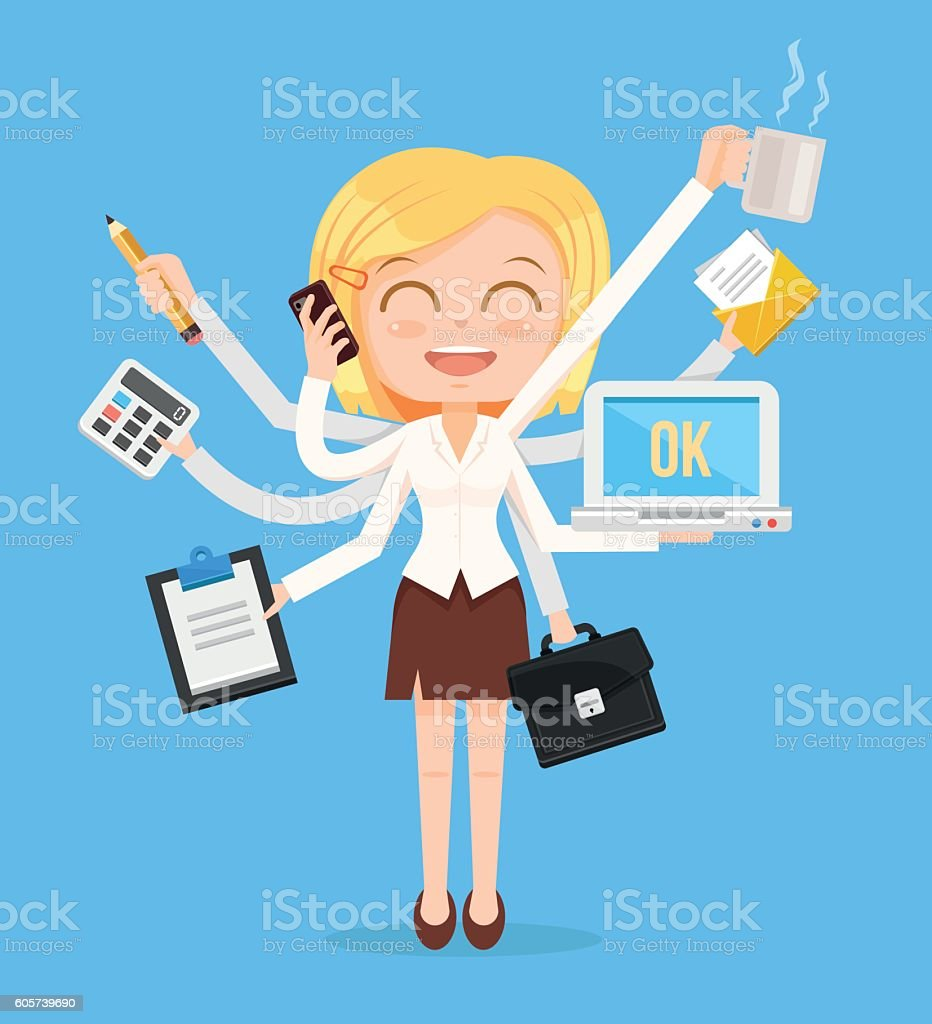 Happy office woman character vector art illustration